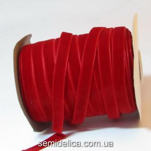 Лента бархатная 1,0 см, красный