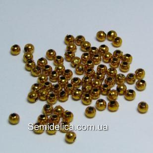 Бусина гальваническая, золото 3мм