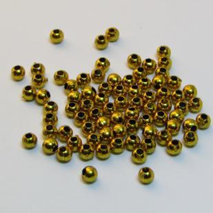 Бусина гальваническая, золото 4мм