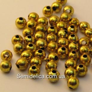 Бусина гальваническая, золото 5мм