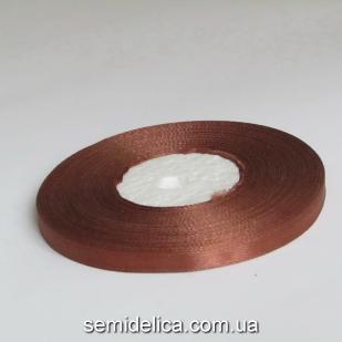 Лента атласная 0,6 см, коричневый