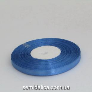 Лента атласная 0,6 см, синий светлый