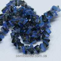 Бусины хрустальные 6мм Треугольник, синее напыление