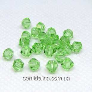Бусины хрустальные 4мм Биконус, зеленый светлый прозрачный