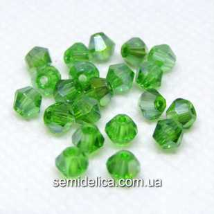 Бусины хрустальные 4мм Биконус, зеленый прозрачный с блеском АВ