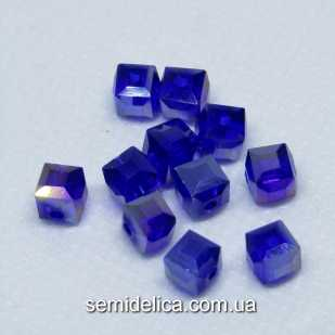 Бусины хрустальные 6мм Кубик, темно-синий прозрачный с блеском АБ