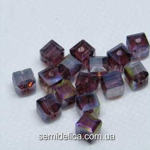 Бусины хрустальные 6мм Кубик, лиловый прозрачный с блеском АВ