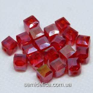 Бусины хрустальные 6мм Кубик, красный прозрачный с блеском АВ