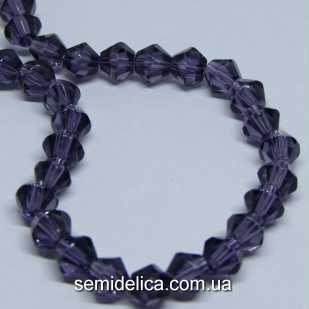 Бусины хрустальные 6мм Биконус, фиолетовый прозрачный