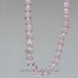 Бусины хрустальные 4мм Биконус, розовый нежный прозрачный