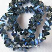 Бусины хрустальные 6мм Треугольник, прозрачный с синим АБ