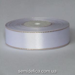 Лента атласная 2,5 см, белый с золотым люрексом