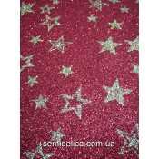 Фоамиран глиттерный 2 мм 20х30 см Звёздочки, красный