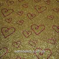 Фоамиран глиттерный 2 мм 20х30 см Сердечки, золото