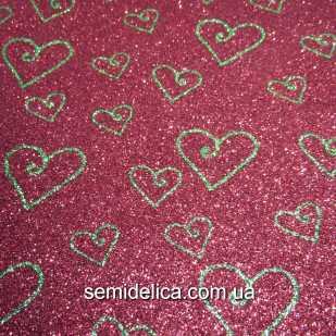 Фоамиран глиттерный 2 мм 20х30 см Сердечки, красный