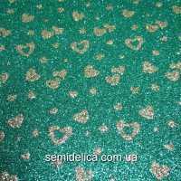 Фоамиран глиттерный 2 мм 20х30 см Сердечки мал., зеленый