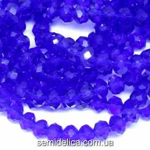 Бусины хрустальные 6х4мм Рондель, темно-синий прозрачный глянец