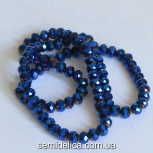 Бусины хрустальные 6х4мм Рондель, синее напыление
