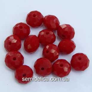 Бусины хрустальные 4х3мм Рондель, красный кракелюр