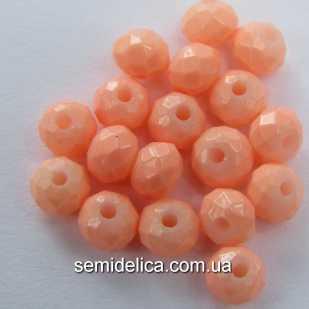 Бусины хрустальные 4х3мм Рондель, персиковый кракелюр