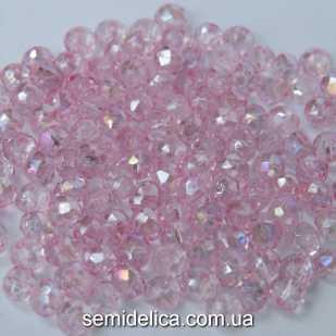 Бусины хрустальные 4х3мм Рондель, розовый нежный прозрачный с блеском АВ