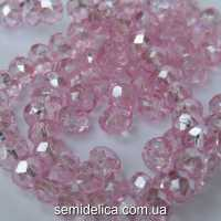 Бусины хрустальные 6х4мм Рондель, розовый нежный прозрачный с блеском АВ