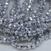 Бусины хрустальные 3х2,5мм Рондель, серебро напыление