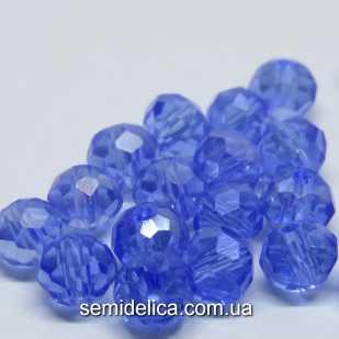 Бусины хрустальные 6х4мм Рондель, голубой прозрачный с АБ