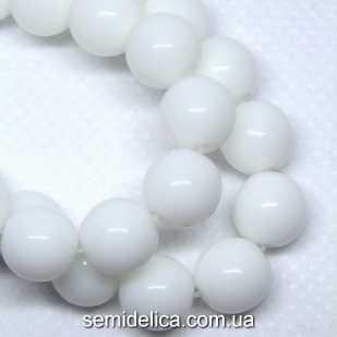 Бусины хрустальные 8 мм Круглые, белый непрозрачный