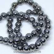 Бусины хрустальные Шар 6 мм, серебро непрозрачный