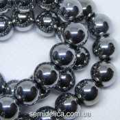 Бусины хрустальные Шар 8 мм, серебро непрозрачный