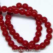 Бусины хрустальные Шар 6 мм, красный непрозрачный