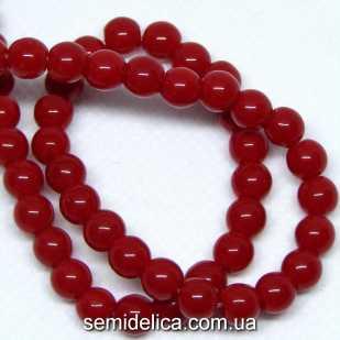 Бусины хрустальные 6 мм Круглые, красный непрозрачный