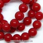 Бусины хрустальные Шар 8 мм, красный непрозрачный
