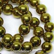 Бусины хрустальные Шар 8 мм, золото непрозрачный