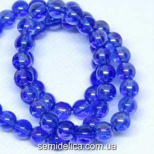Бусины хрустальные 6 мм Круглые, синий прозрачный с блеском АБ