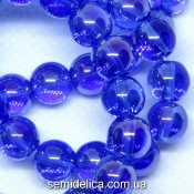 Бусины хрустальные Шар 8 мм, синий прозрачный с блеском АБ