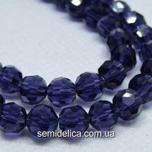 Бусины хрустальные 6 мм Круглые, фиолетовый прозрачный