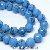 Бусины пресс Бирюза 8 мм, длина 45 см с замочком, голубой