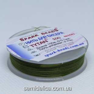 Нить для бисера TYTAN 100 м, коричнево-зеленый