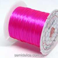 Нить-резинка слоеная силиконовая плоская 1мм, ярко- розовый