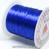 Нить-резинка слоеная силиконовая плоская 1мм, синий