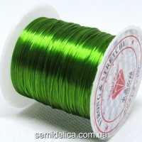 Нить-резинка слоеная силиконовая плоская 1мм, оливковый