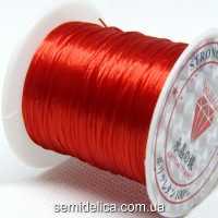Нить-резинка слоеная силиконовая плоская 1мм, красный