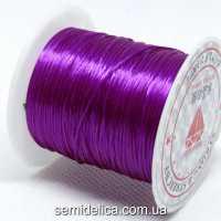 Нить-резинка слоеная силиконовая плоская 1мм, фиолетовый