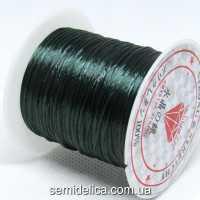 Нить-резинка слоеная силиконовая плоская 1мм, темно- зеленый