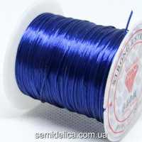 Нить-резинка слоеная силиконовая плоская 1мм, темно- синий