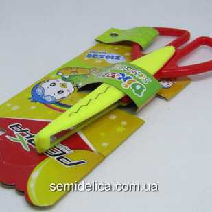 Ножницы с фигурными лезиями, детские желтые
