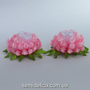 "Заколка для волос ""хризантема"", розово-белый"