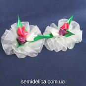 """Резинка для волос """"букет тюльпанов"""", лиловый, кремовый, коралл"""